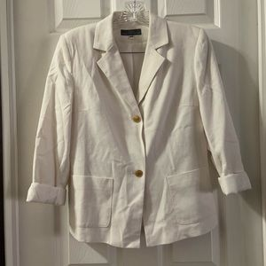 Folio Saks Fifth Avenue White Linen Blend Blazer